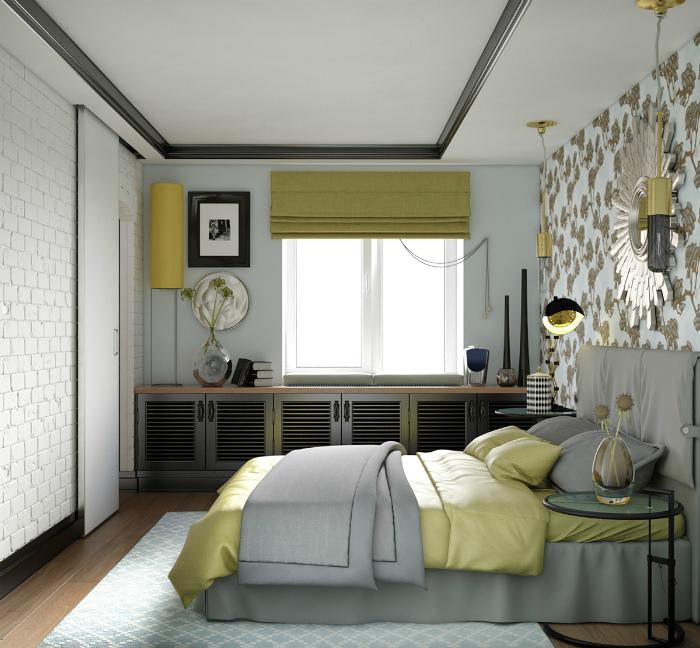 Яркий интерьер маленькой спальни. | Фото: The Spruce.