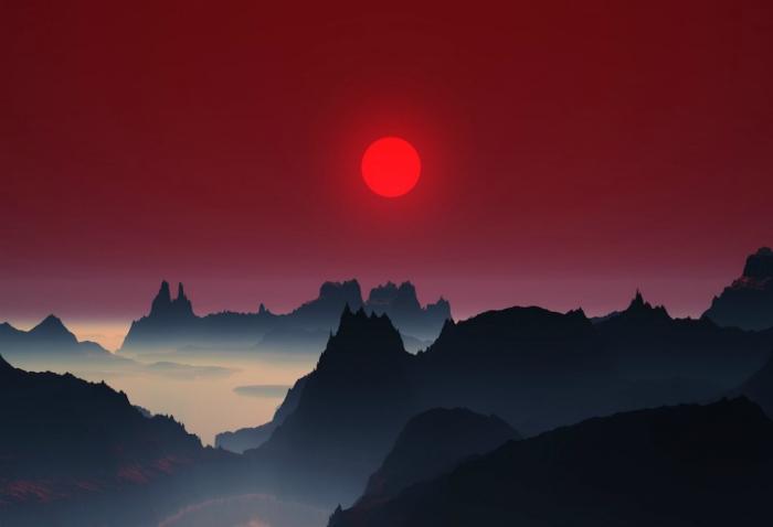 Волшебный закат в Японии.