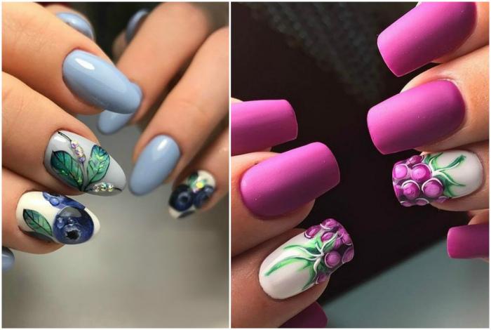 Рисунки ягод и фруктов на ногтях.