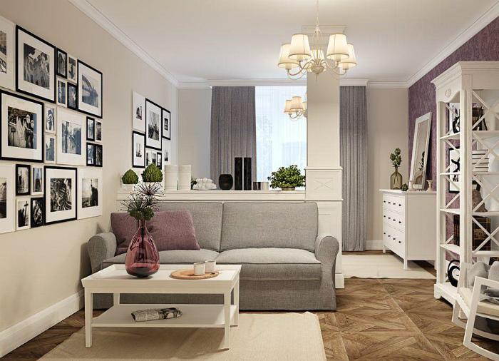 Восхитительный интерьер классической гостиной-спальни.