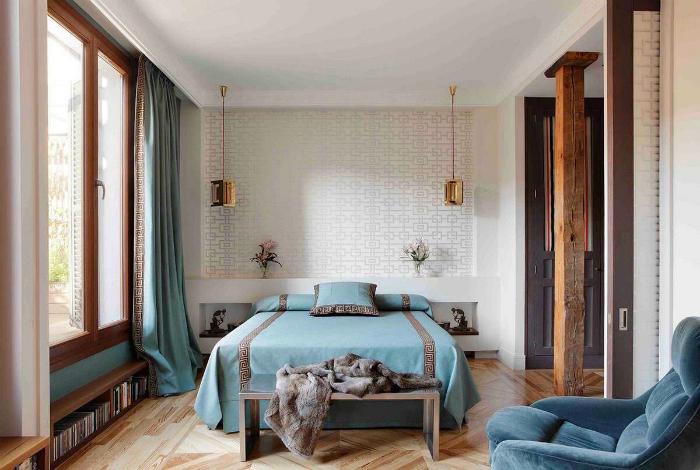 Спальня с элементами морского стиля.