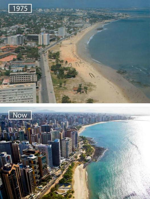 Форталеза в 1975-ом и сейчас.