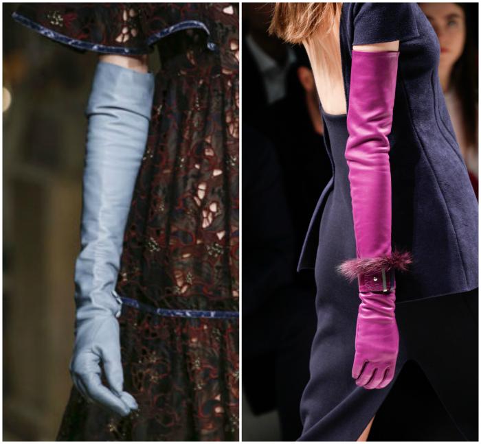 Длинные элегантные перчатки.