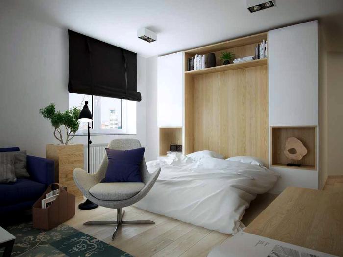 Спальня в скандинавском стиле с откидной кроватью.