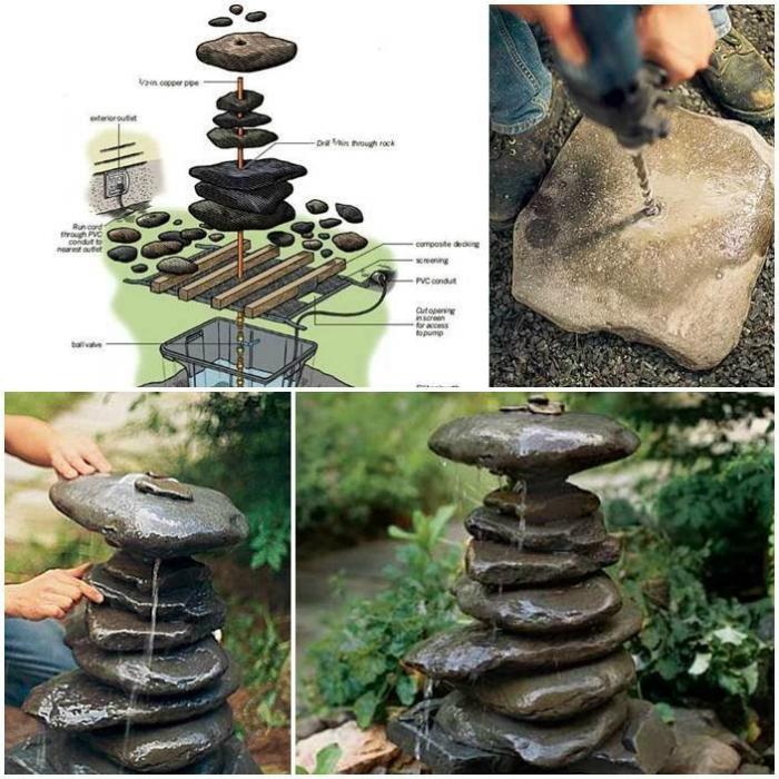 Небольшой самодельный фонтанчик из обыкновенных камней.