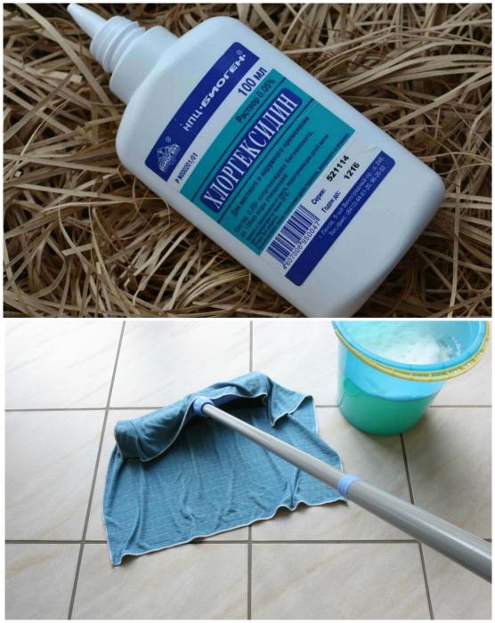 Хлоргексидин для уборки.