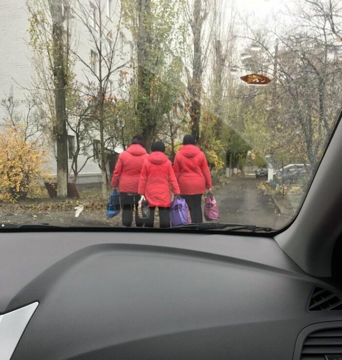 Женщины разные, а пуховики одинаковые. | Фото: cs10.pikabu.ru.