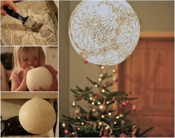 Фантастический кружевной светильник, сделанный из кружевной ткани и обыкновенного воздушного шарика.