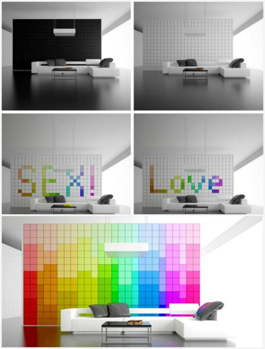 Трансформирующаяся пиксельная стена.