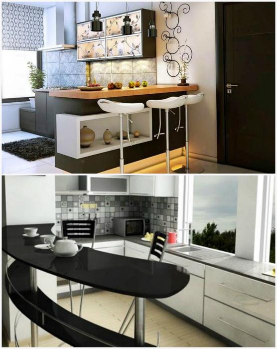 Барная стойка в интерьере кухни. | Фото: Дизайн кухни, Glav-Dacha.ru.