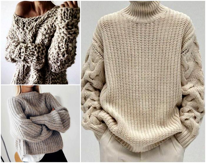 Вязаный свитер оверсайз.
