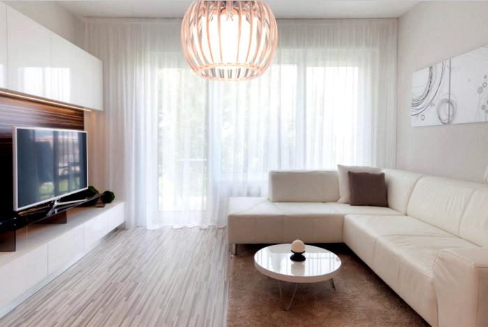 Светлая гостиная в стиле минимализм.