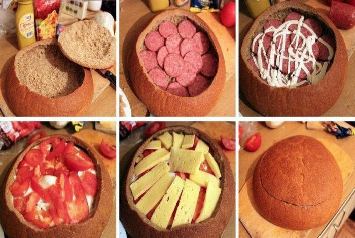 Простой и сытный пирог из колбасы, сыра и помидоров, запеченных в буханке ржаного хлеба.