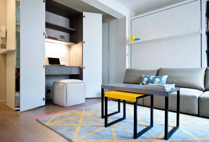Скрытые системы в интерьере однокомнатной квартиры.