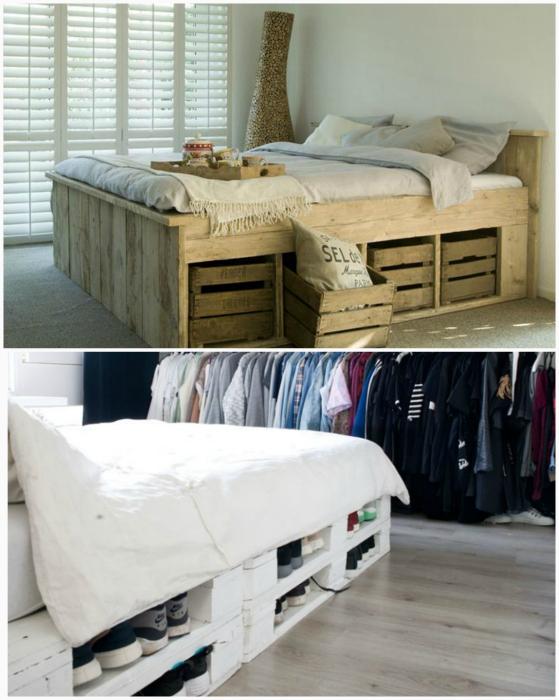 Кровати с местом для хранения вещей.