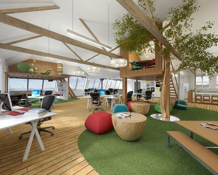 Креативное рабочее пространство в экологичном стиле.