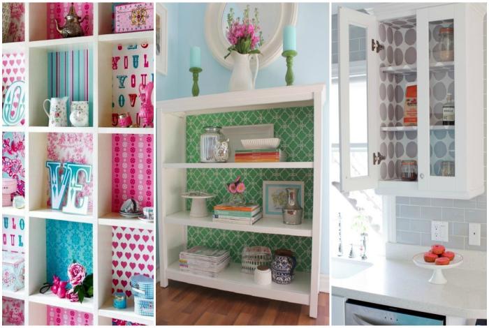 Яркие стенки шкафов.