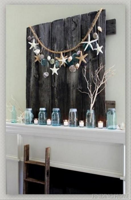 Очень простая в изготовлении гирлянда из разнообразных ракушек, которую можно повесить на стену.
