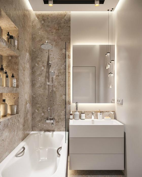 Зонирование ванной комнаты. | Фото: Pinterest.