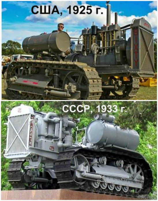 Caterpillar Sixty, США, 1925 года и Сталинец-60, СССР, 1933 года.