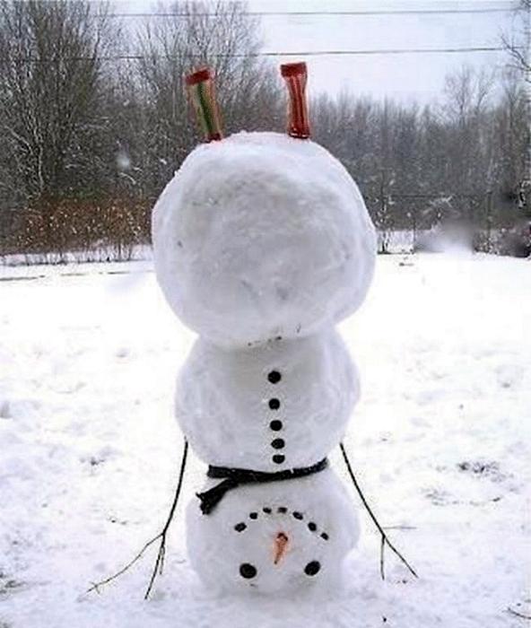 Снеговик вверх тормашками.