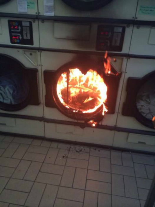 Сгорела на работе.