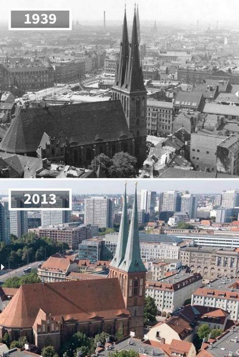 Церковь святого Николая в 1939 и в 2013.
