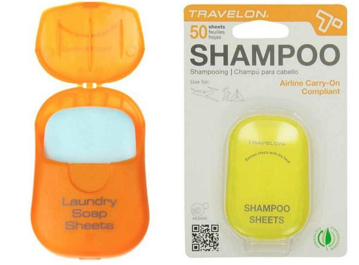 Компактный лёгкий контейнер со специальными пластинками, среди которых: гель для бритья, гель для душа, шампунь и мыло для рук.