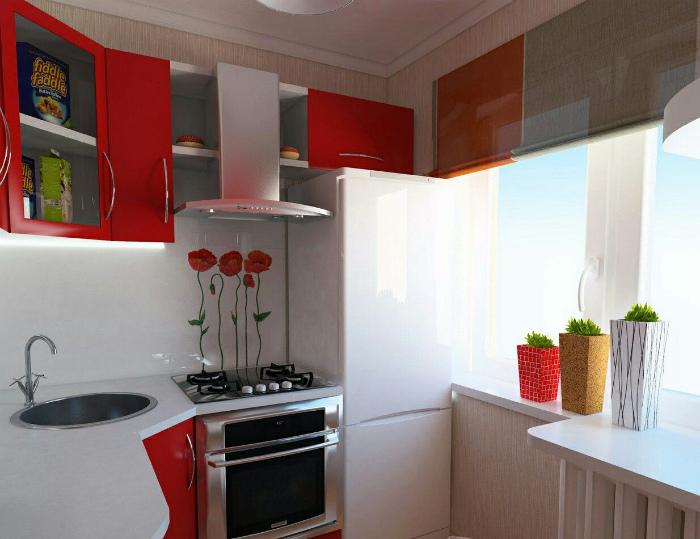 Стильная красно-белая кухня. | Фото: Квартирный вопрос.