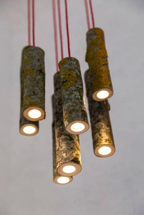 Уникальный светильник из веток.