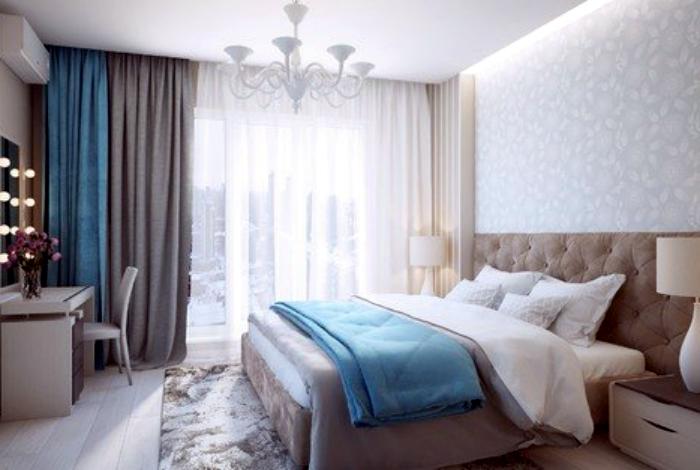 Современная спальня в серо-голубых тонах.