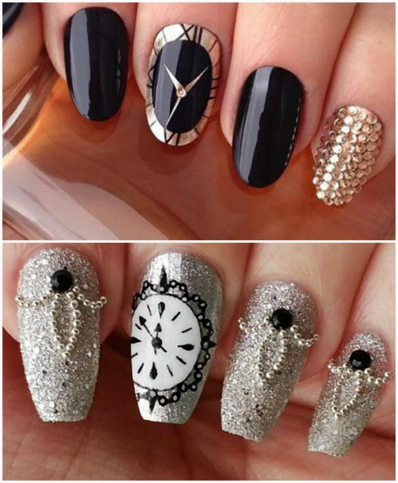 Изображения курантов на ногтях.