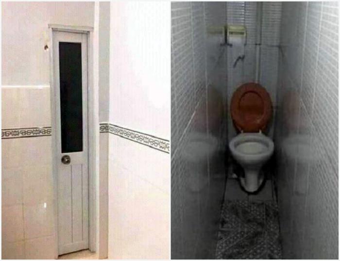 Узкий туалет для «компактных» людей. | Фото: Reddit.