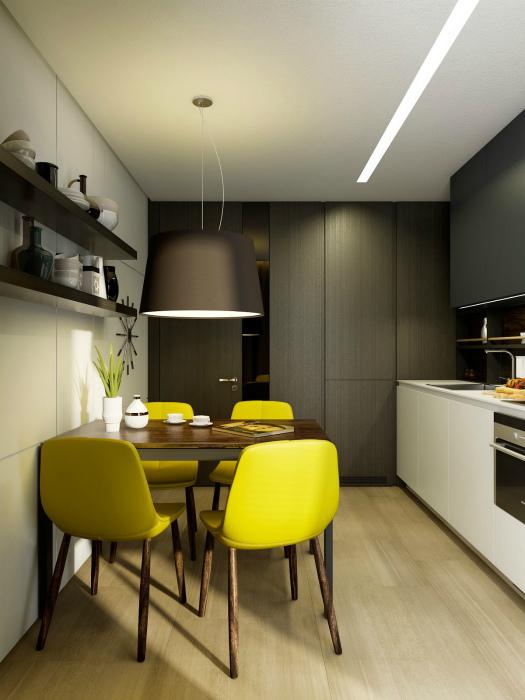Темная кухня с желтыми акцентами.