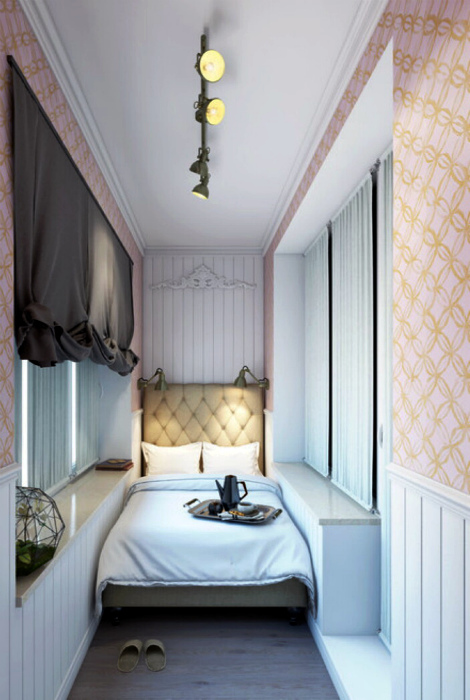 Красивая спальня на узкой лоджии. | Фото: Pinterest.