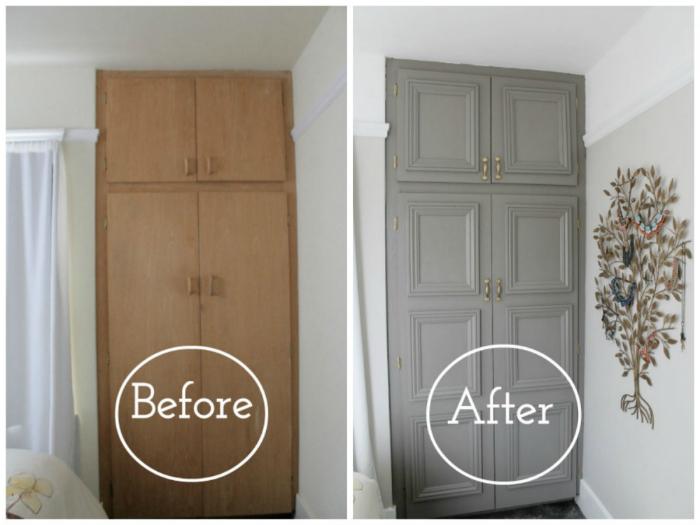 Освежить старую мебель можно с помощью обычной краски и декоративных молдингов.