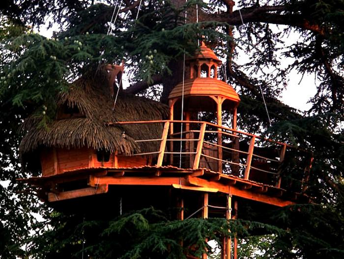 Небольшой отель на дереве, похожий на замок.