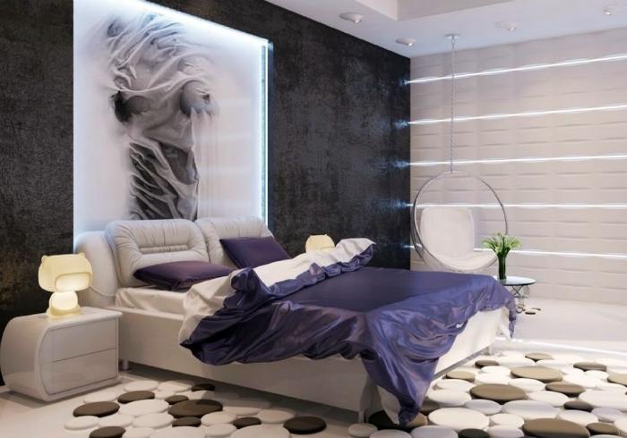 Просторная спальня в современном стиле.