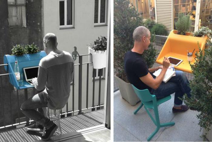 Небольшой пластиковый стол легко превратит балкон в офис на свежем воздухе.