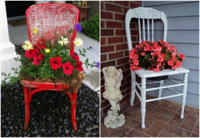 Цветочные горшки в старых стульях.