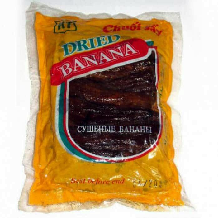 Упаковка сушеных бананов.