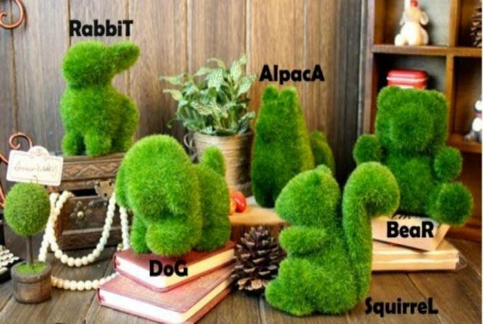Потрясающие травяные фигурки животных для украшения дома.