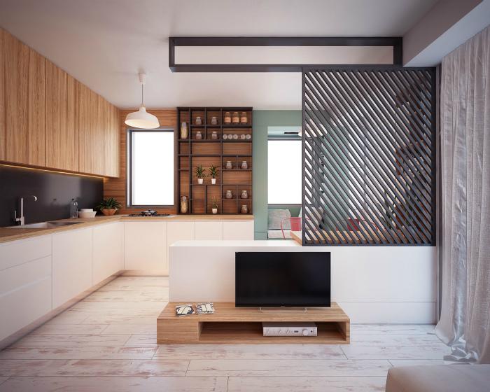 Минималистичная кухня-гостиная.