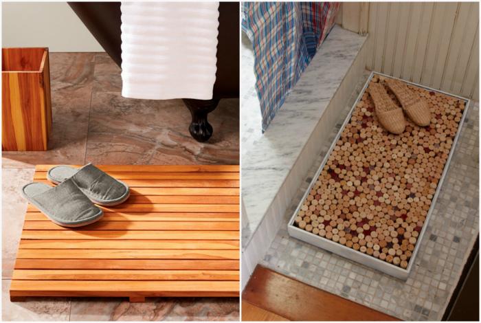 Деревянный коврик для ванны.