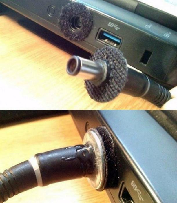Фиксация кабеля зарядки.