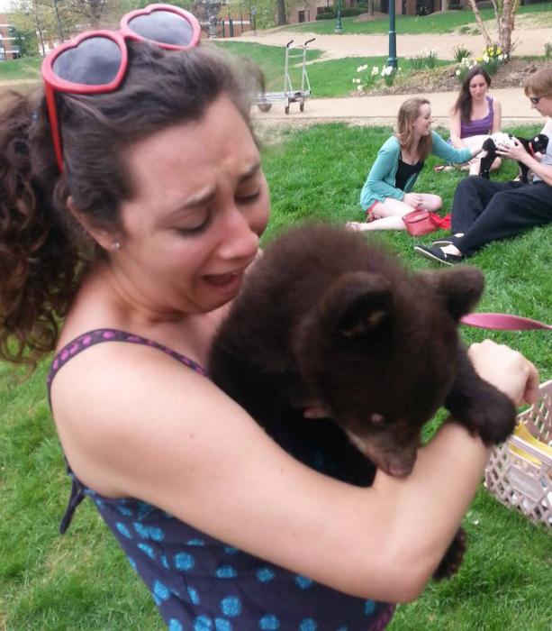 Поцелуй медвежонка. | Фото: Twitter.