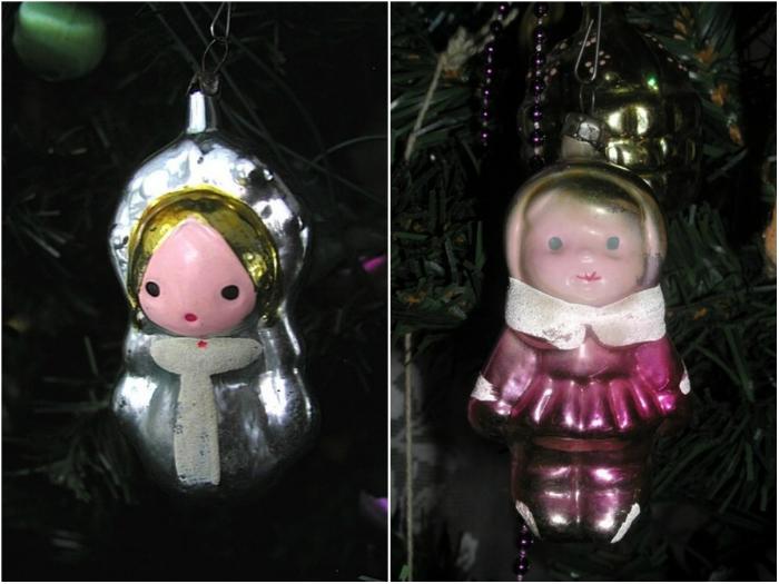 Милые стеклянные фигурки Снегурочки и куколки, которые вешали на елку.