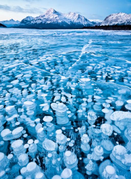 Искусственный водоем с голубой водой, на поверхности которого зимой появляется причудливый рисунок, благодаря замерзшим пузырькам метана.
