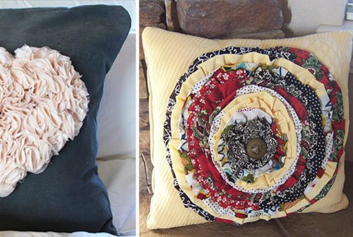 Объемный декор подушек. | Фото: Своими руками.
