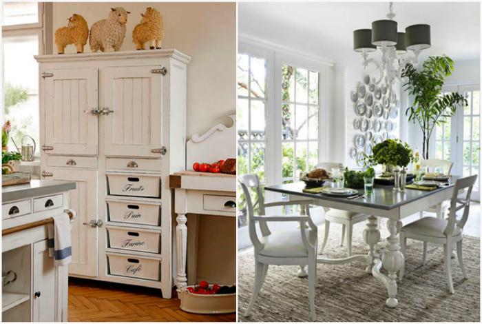 Мебель, покрашенная в белый цвет.